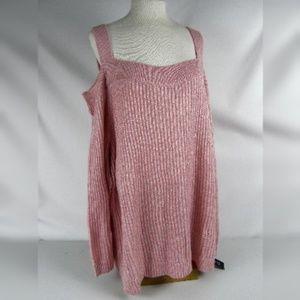 INC Int'l Concepts Pink Cold Shoulder Sweater